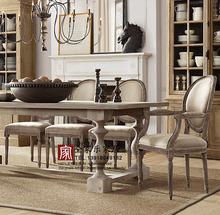 美式法式复古成套家具 亚麻面料鹅蛋圆背餐椅餐桌 酒店会所休闲椅