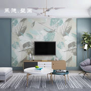 Modern minimalist living room sofa TV background wall paper small fresh hand-painted video wall bedroom decoration mural