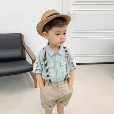 辰辰妈童装新款宝宝工装衬衫1-3-5岁儿童背带短裤两件套男童套装