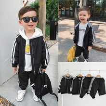 棒球外套随意组合宝宝两件套 三道杠运动风长裤 套装 辰辰妈男童春装