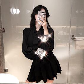 港味2018秋装新款小众亮片袖口宽松显瘦百搭收腰时髦复古chic衬衫