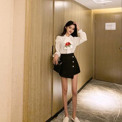 名媛气质时尚套装新款韩版洋气雪纺衫上衣高腰阔腿裙裤短裤两件套