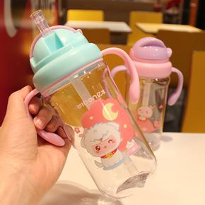 创意儿童水杯带宝宝吸管有刻度小学生塑料水壶夏季防摔便携水杯子