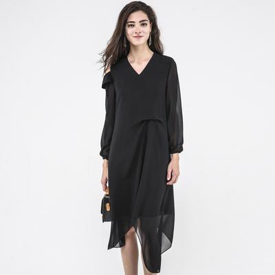 2019春夏新设计师款感原创女装小众品牌雪纺连衣裙子中长袖个性潮