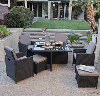 新款创意藤椅茶几五件套休闲阳台花园仿藤桌椅酒吧户外家具组合