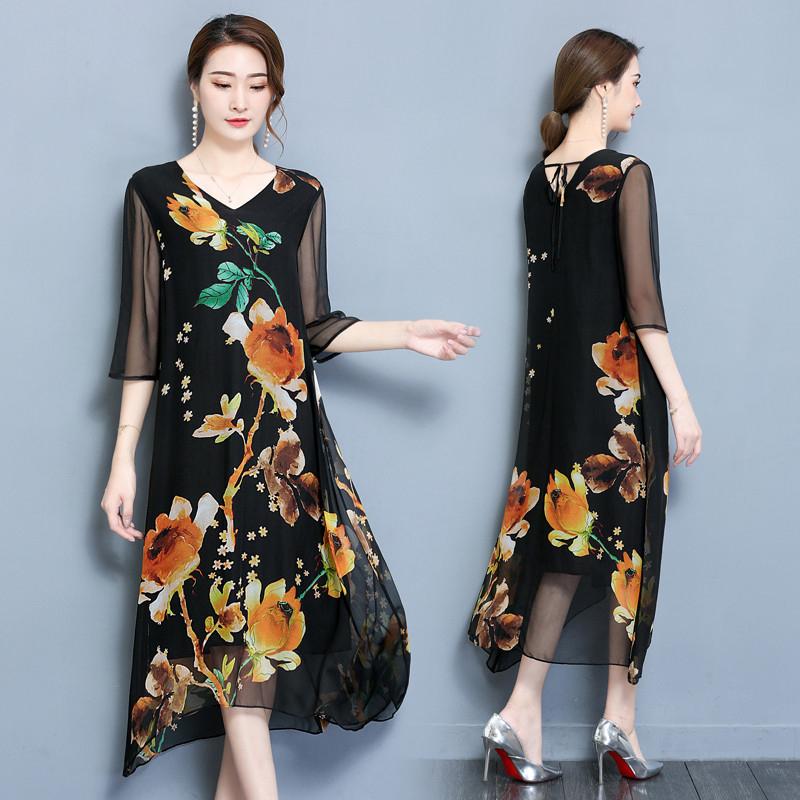 印花中袖真丝连衣裙女装夏季