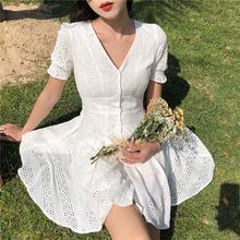 韩版chic复古港味时尚V领单排扣短袖初恋裙白色公主裙连衣裙女潮