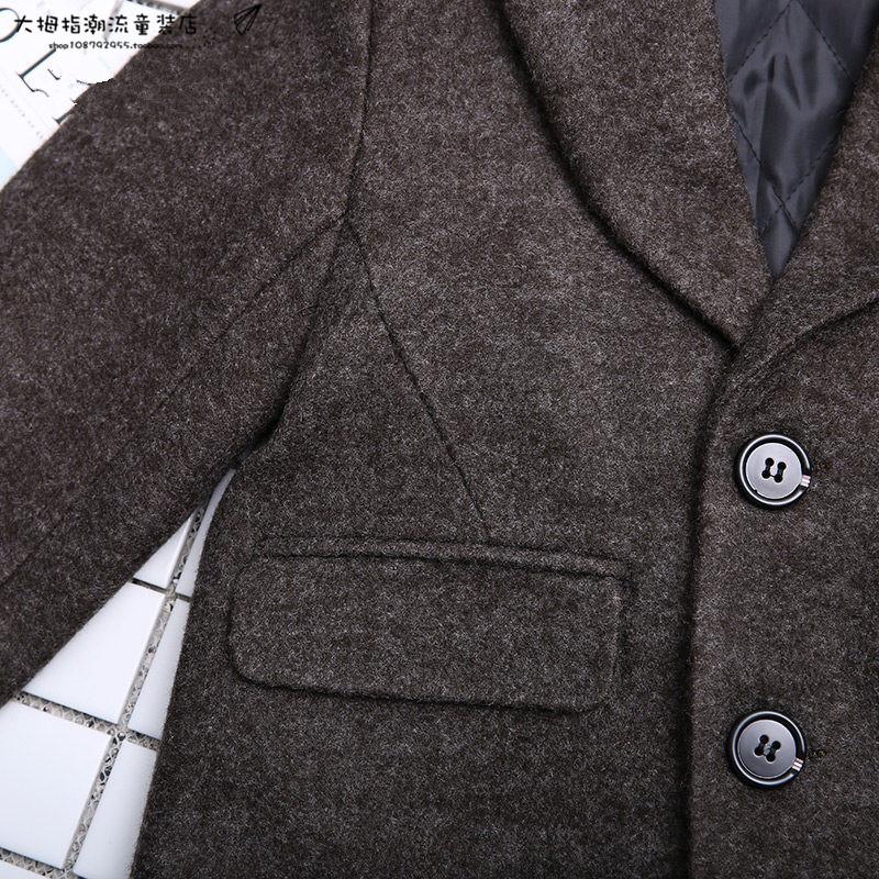 2017新款秋冬男童灰色呢大衣加厚儿童外套中长款个性毛呢夹棉大衣