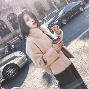 2017冬装韩版金貂绒chic小个子毛呢外套女装短款森系呢子大衣毛领
