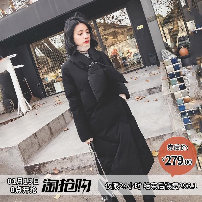 原宿棉袄女bf风黑色chic羽绒棉服中长款加厚过膝棉衣外套冬季韩版