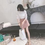 chic短裙女夏季2018新款高腰雪纺半身裙a字裙复古伞裙ins超火裙子