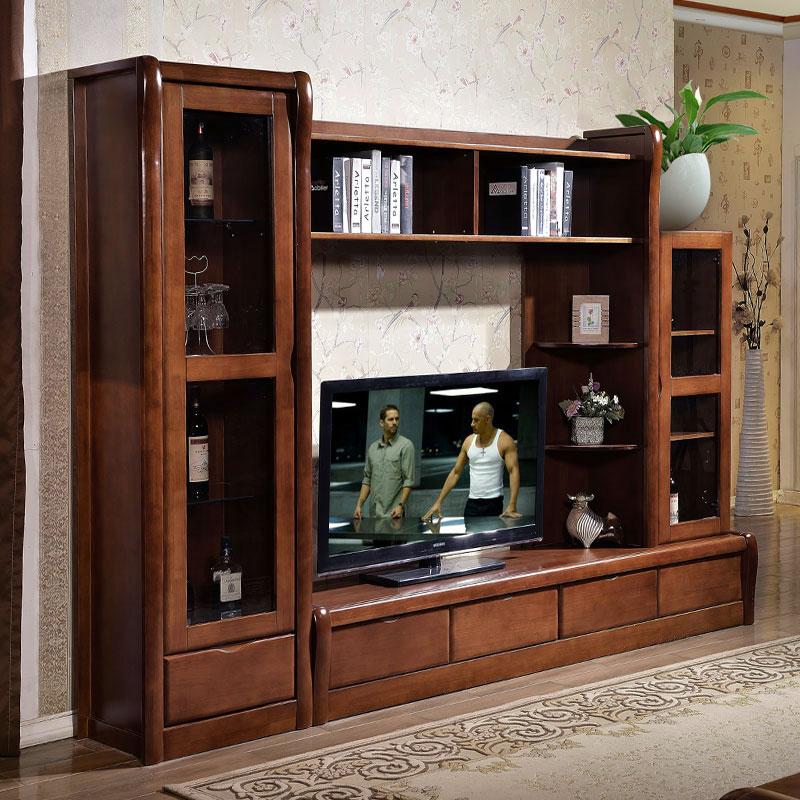 中式实木组合电视柜 橡胶木组合厅柜地柜酒柜客厅影视背景墙柜