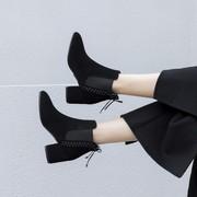 短靴女秋冬2018新款切尔西马丁靴头层牛皮粗跟高跟真皮磨砂百搭鞋