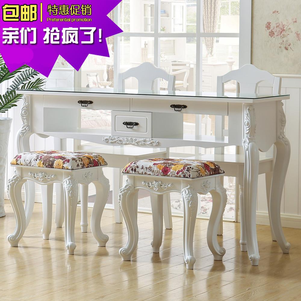 复古美甲桌椅套装双人单人现代简约实木美甲桌子欧式美甲台子