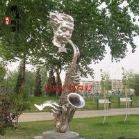 Stainless steel abstract sculpture garden blowing sasko abstract man sculpture music sculpture
