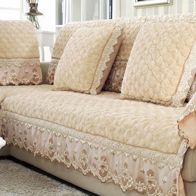 防滑米色毛绒沙发垫简约现代布艺真皮实木坐垫欧式蕾丝全包沙发套官方旗舰店