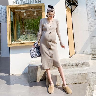 孕妇春装连衣裙2019新款中长款长袖时尚宽松上衣孕妇针织孕妇裙潮