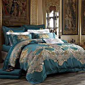 欧式床上用品十件套 80支贡缎奢华别墅样板房 高档床单床盖多件套