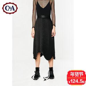 C&A女式金属色亮面百褶裙 2017秋冬新款不规则半身裙CA200199499