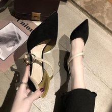女单鞋 子韩版 女夏2019新款 细跟尖头女鞋 百搭小清新高跟鞋 中空凉鞋