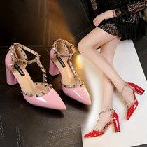夏季新款白色尖头水晶婚鞋细跟超高跟新娘鞋一字式扣带水钻女凉鞋