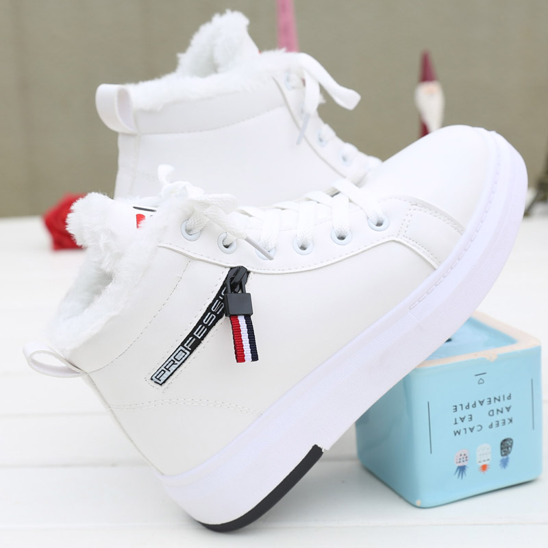 白色厚底女鞋冬
