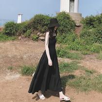 马尔代夫海边度假沙滩裙海南三亚渡假超仙显瘦小黑裙吊带连衣裙子