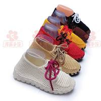 Men and women canvas casual sports ball hand-woven shoes tied rope lace color round wild new products
