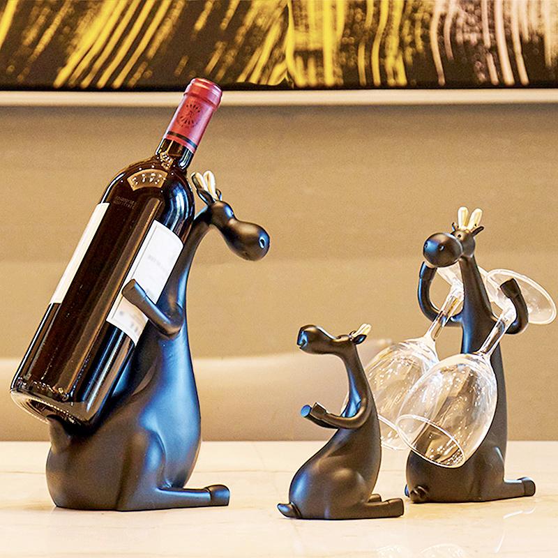 现代简约红酒架摆件北欧风格工艺装饰品家居酒柜搬家乔迁新居礼品