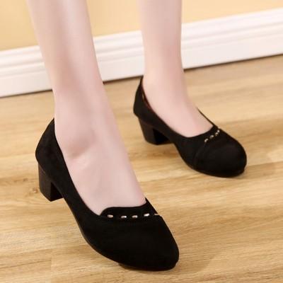 2018春季新款老北京布鞋女鞋子中跟粗跟黑色工作鞋串珠浅口女单鞋