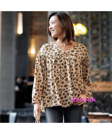 18春日本女装代购时尚优雅豹纹花样A版遮肉显瘦V领减龄罩衫L-10L