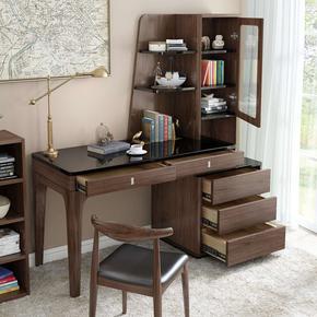 北欧书桌卧室电脑桌简约现代办公桌美式书台书柜书房家具套装组合