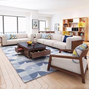 简约现代小户型三人布艺沙发组合 北欧布沙发 客厅懒人沙发可拆洗