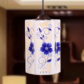 景德镇创意玄关阳台酒吧餐厅复古中式单头吸顶陶瓷吊灯现代简约