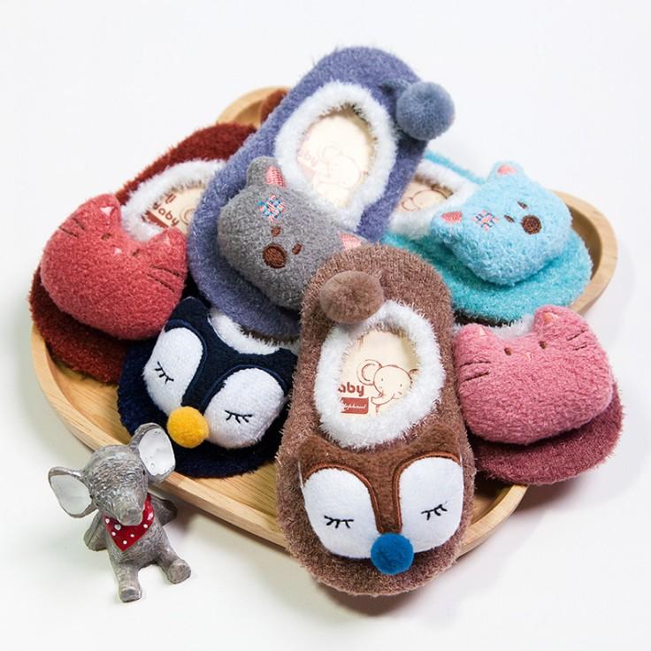 【天天特價】嬰兒襪子秋冬學步襪寶寶加厚底防滑地板襪珊瑚絨襪套