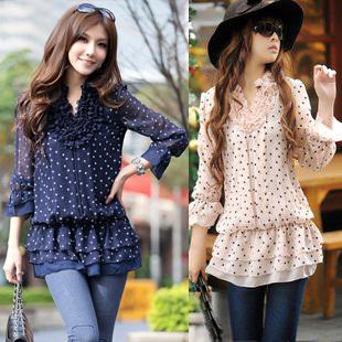 2013春装新款 韩版修身中长款打底百搭波点雪纺衫 休闲衬衫女