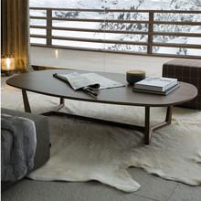 北欧家具椭圆形茶几 极简约水曲柳实木美式咖啡桌设计师薄边茶几