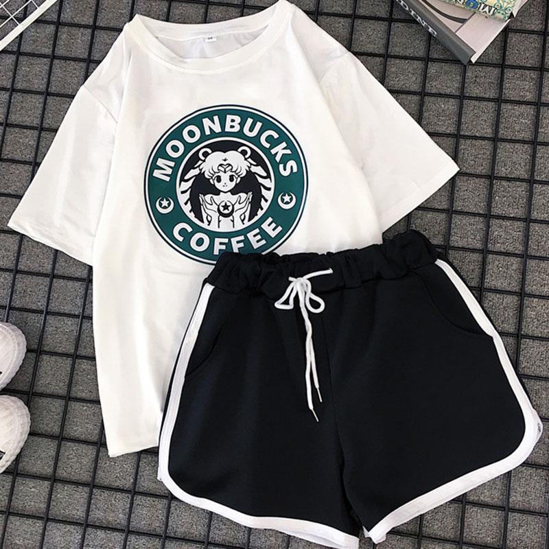 两件套套装女ins动漫美少女宽松短袖T恤短裤休闲运动套装女百搭潮