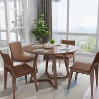 圆餐桌椅组合小户型家用北欧实木餐桌吃饭桌现代简约胡桃色洽谈桌