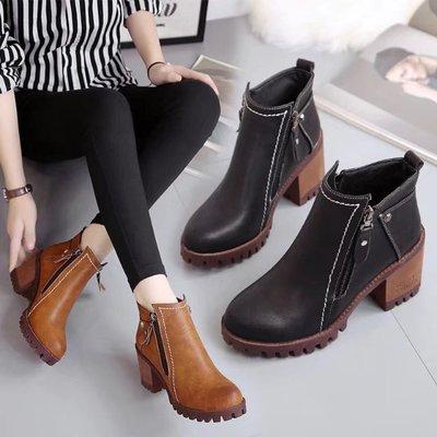 2018秋冬新款大东真皮女靴粗跟短靴女鞋英伦风马丁靴学生休闲靴子