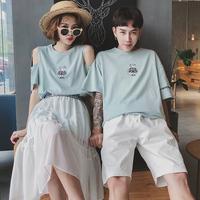 气质情侣装夏装2018新款韩版短袖T恤夏季bf女裙子不一样的连衣裙