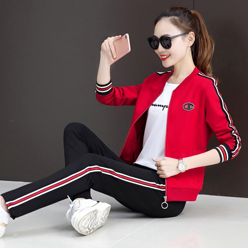2019春秋新款韩版时尚休闲女装宽松运动套装女卫衣三件套棒球服潮