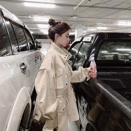 2019流行风衣女网红韩版立领气质女神春季休闲中长款外套女潮ins