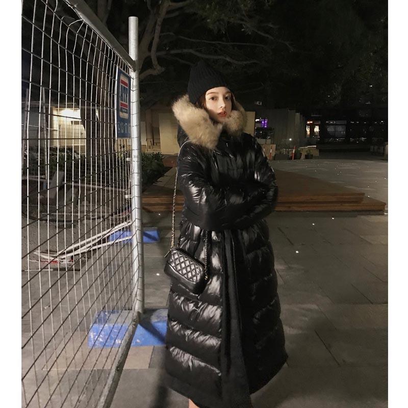 过膝中长款大毛领网红羽绒服女2018新款流行两面穿鹅绒服长款外套满599元减40元