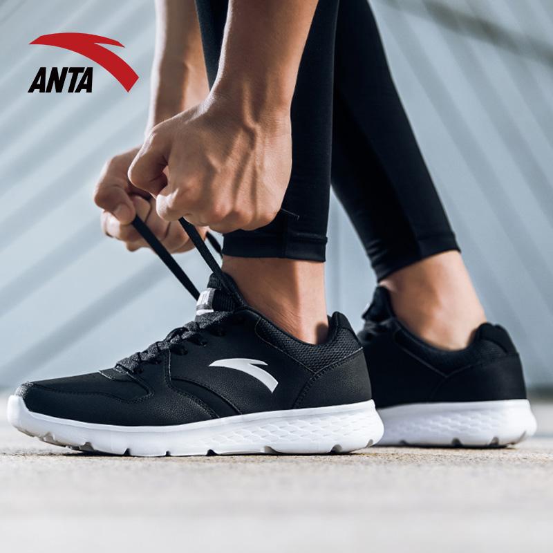 安踏男鞋运动鞋2018秋季新款皮面保暖跑步鞋官方正品黑色休闲跑鞋