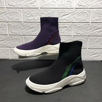 Brand withdraw womens shoes special 2018 autumn new knit womens boots ulzzang Paris high-top socks shoes 9q705
