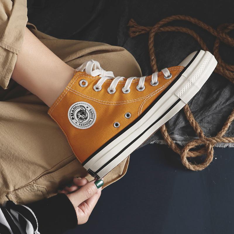 环球帆布鞋女学生韩版2019春季复古港味1970s姜黄色邦高帮板鞋布