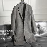 双面羊绒大衣男士中长款2018秋冬新款高端韩版千鸟格子羊毛呢外套