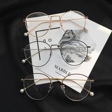 韩版学院复古圆形金属半框平光镜文艺小清新男女配近视眼镜框架