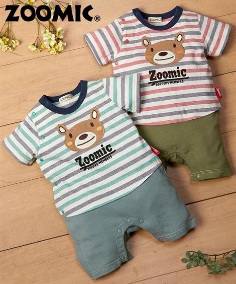 日本直邮nissen小熊图案男宝宝半袖连体衣爬服70.80cm